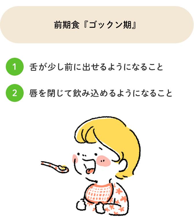 前期食「ゴックン期」舌が少し前に出せるようになること、唇を閉じて飲み込めるようになること