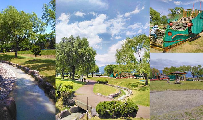 """小川が流れる公園や竜のような遊具があるよ! <br>緑と水がいっぱい""""三峰川榛原河川公園"""""""